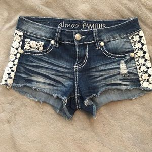 Almost Famous Distressed Jean Shorts With Crochet
